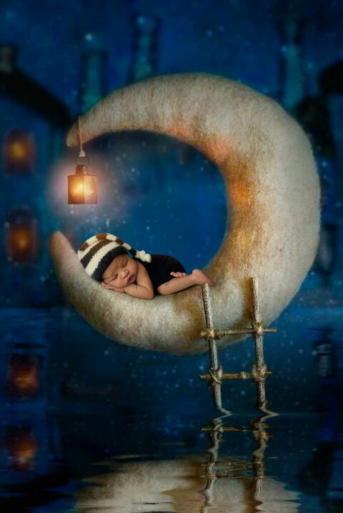 Composite image of newborn baby sleeping on a crescent moon virtual space by Dallas Maternity, Newborn, and Children's Photographer Chaunva LeCompte Photography