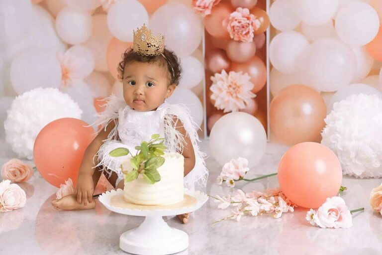 First birthday cake smash photography by Dallas / Fort Worth maternity, newborn, and children's photographer Chaunva LeCompte Photography